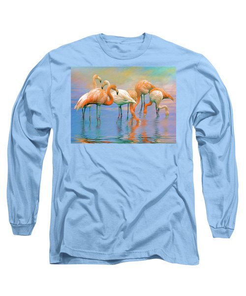 American Flamingos Long Sleeve T-Shirt by Brian Tarr