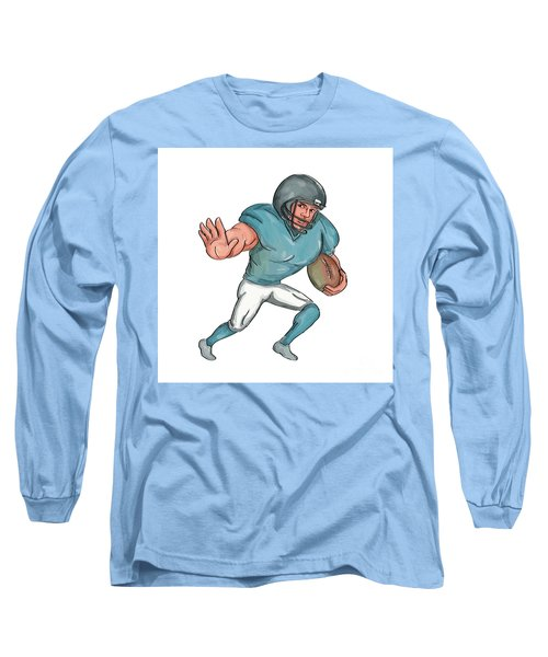 American Football Player Stiff Arm  Caricature Long Sleeve T-Shirt
