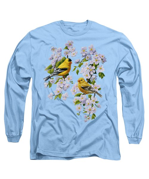 American Goldfinch Spring Long Sleeve T-Shirt by Crista Forest