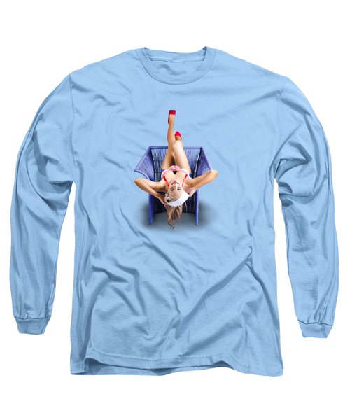 American Pinup Woman Upside Down On Cane Chair Long Sleeve T-Shirt