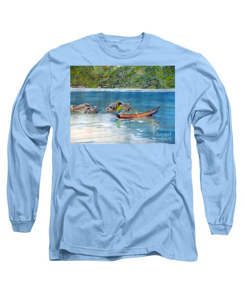 Long Sleeve T-Shirt featuring the painting Anak Dan Perahu by Melly Terpening