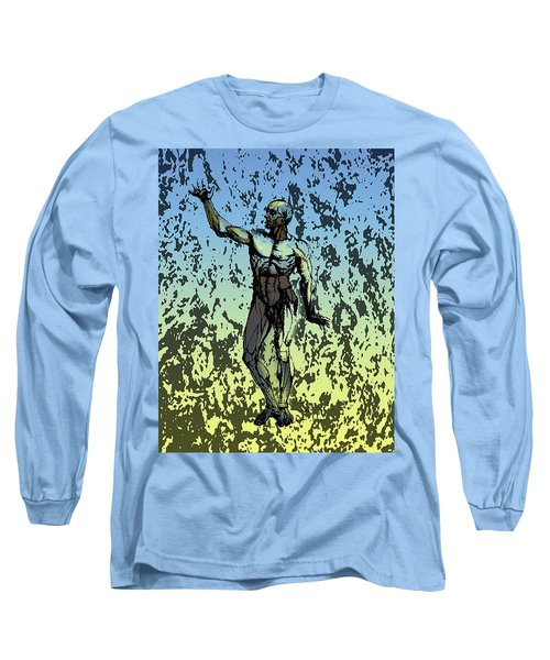 Anatomical Man In Blue And Yellow Long Sleeve T-Shirt