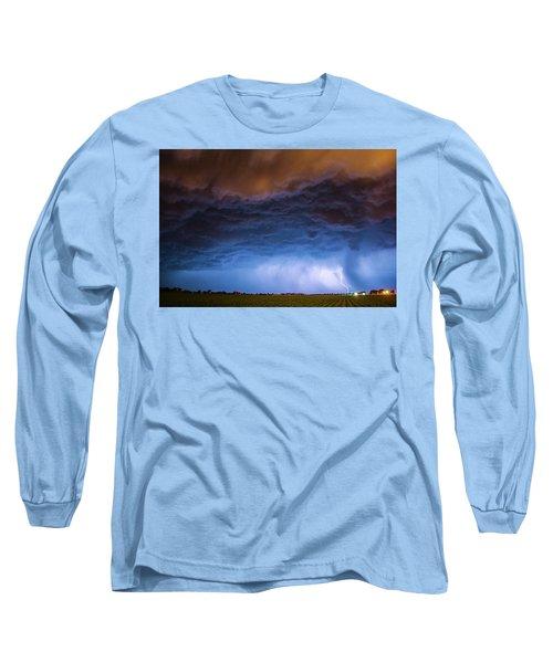 Another Impressive Nebraska Night Thunderstorm 008/ Long Sleeve T-Shirt