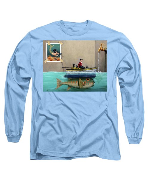 Long Sleeve T-Shirt featuring the painting Anyfin Is Possible - Fisherman Toy Boat And Mermaid Still Life Painting by Linda Apple