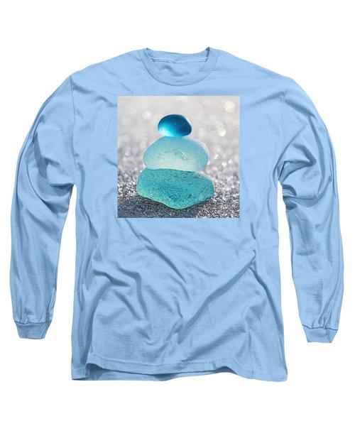 Aquamarine Ice Long Sleeve T-Shirt by Barbara McMahon