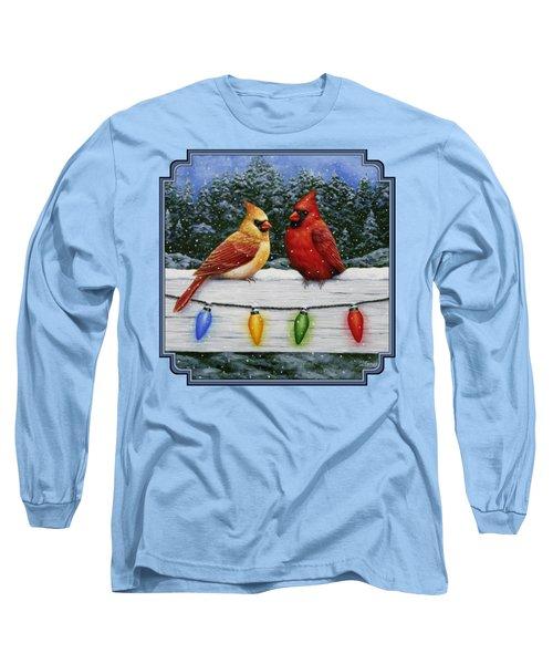 Bird Painting - Christmas Cardinals Long Sleeve T-Shirt