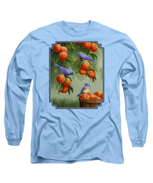 Bird Painting - Bluebirds And Peaches Long Sleeve T-Shirt