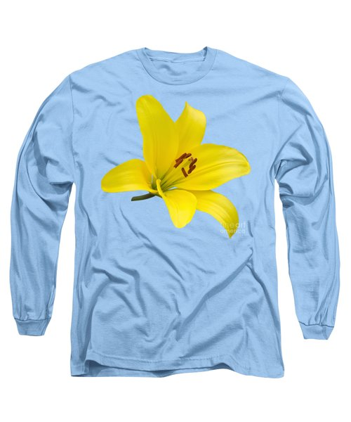 Long Sleeve T-Shirt featuring the photograph Yellow Asiatic Lily On Blue by Jane McIlroy