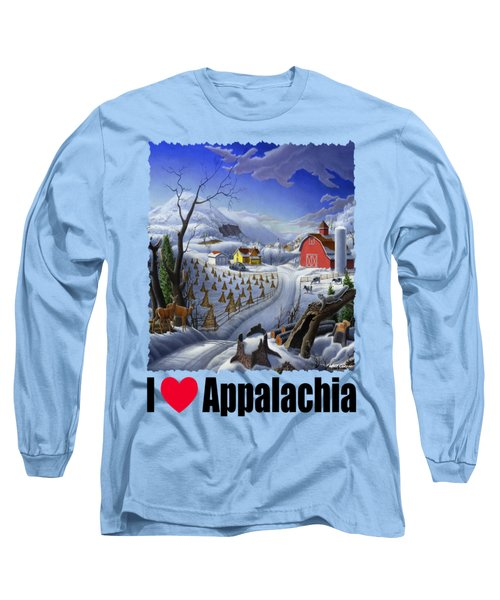 I Love Appalachia - Appalachian Rural Winter Farm Landscape Long Sleeve T-Shirt