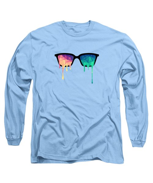 Psychedelic Nerd Glasses With Melting Lsd Trippy Color Triangles Long Sleeve T-Shirt by Philipp Rietz