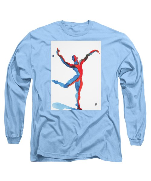Long Sleeve T-Shirt featuring the painting Ballet Dancer 3 Gesturing by Shungaboy X
