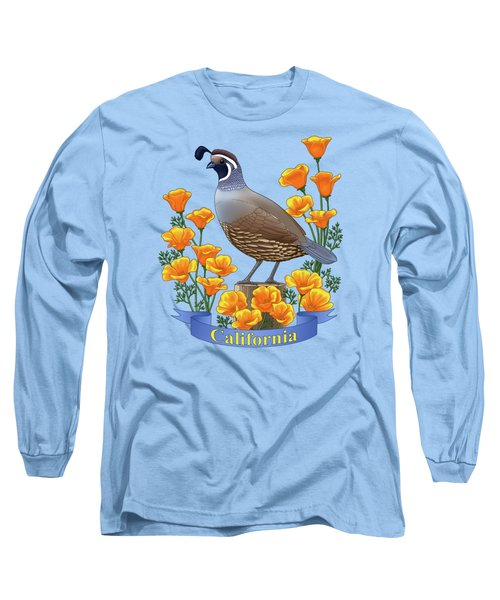 California Quail And Golden Poppies Long Sleeve T-Shirt by Crista Forest