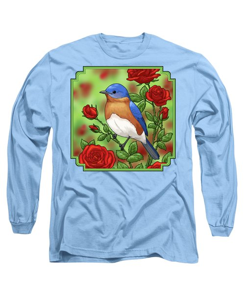 New York State Bluebird And Rose Long Sleeve T-Shirt