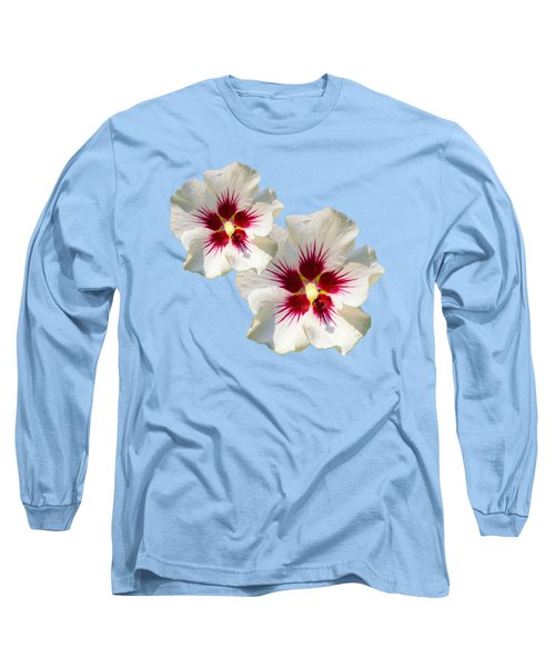 Long Sleeve T-Shirt featuring the mixed media Hibiscus Flower Pattern by Christina Rollo
