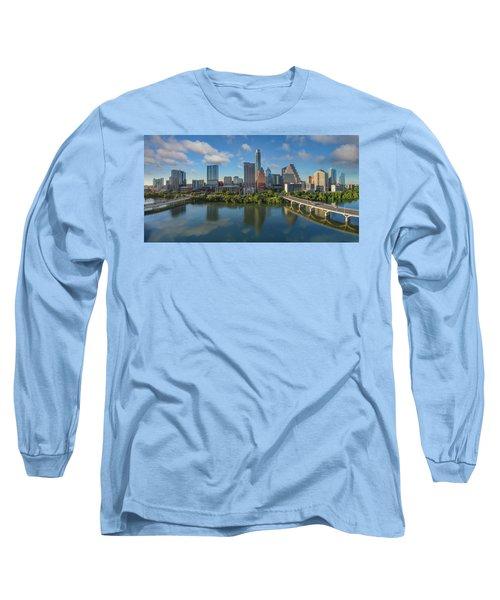 Austin Skyline Panorama Spring Afternoon 7-1 Long Sleeve T-Shirt by Rob Greebon