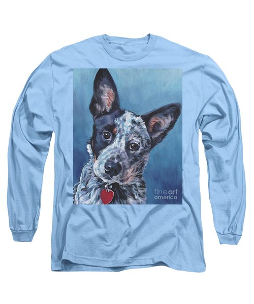 Long Sleeve T-Shirt featuring the painting Australian Cattle Dog by Lee Ann Shepard