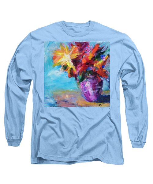 Colorful Flowers  Long Sleeve T-Shirt by Yulia Kazansky