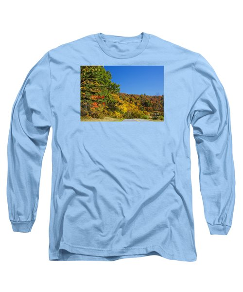 Autumn Country Roads Blue Ridge Parkway Long Sleeve T-Shirt by Nature Scapes Fine Art