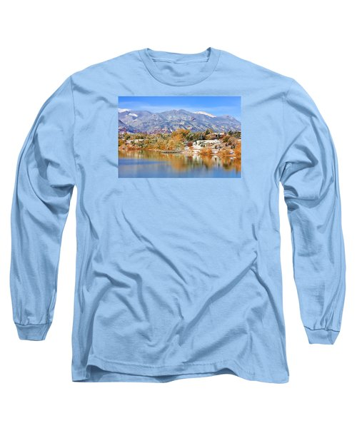 Long Sleeve T-Shirt featuring the photograph Autumn Snow At The Lake by Diane Alexander