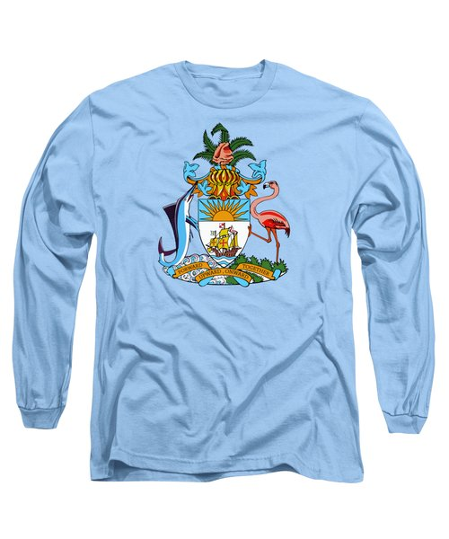 Long Sleeve T-Shirt featuring the drawing Bahamas Coat Of Arms by Movie Poster Prints