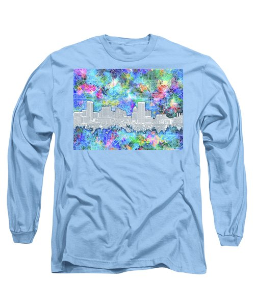 Long Sleeve T-Shirt featuring the painting Baltimore Skyline Watercolor 14 by Bekim Art