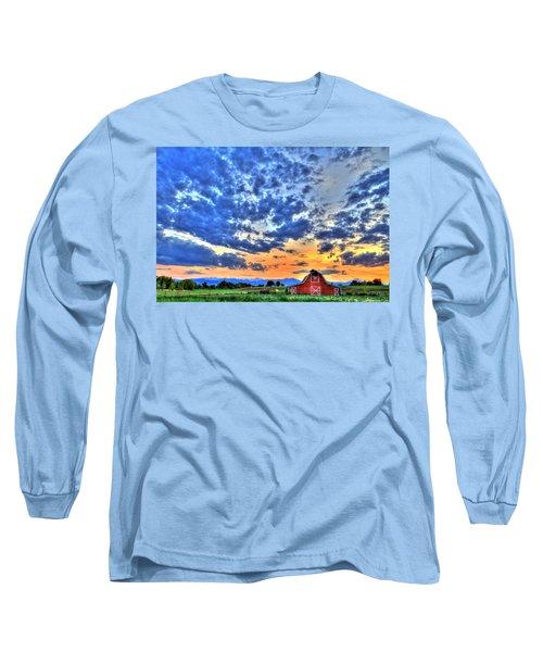Barn And Sky Long Sleeve T-Shirt by Scott Mahon