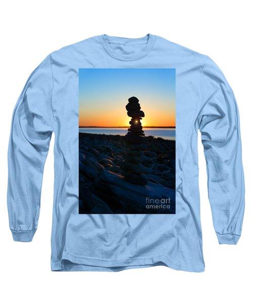 Beach Cairn At Sunrise Long Sleeve T-Shirt by Diane Diederich