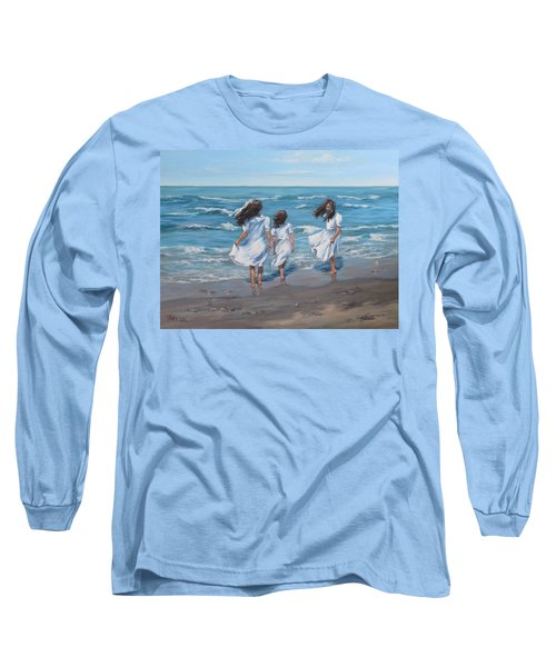 Long Sleeve T-Shirt featuring the painting Beach Day by Karen Ilari