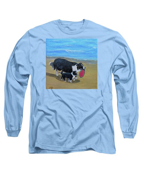 Long Sleeve T-Shirt featuring the painting Beach Frisbee by Fran Brooks