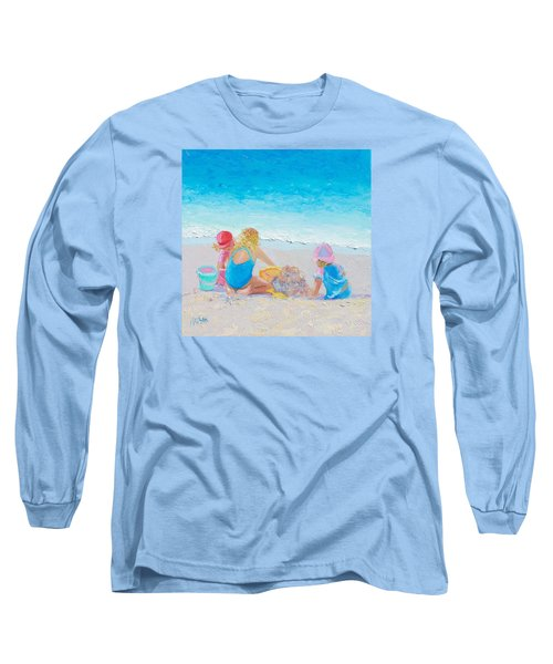 Beach Painting - Building Sandcastles Long Sleeve T-Shirt