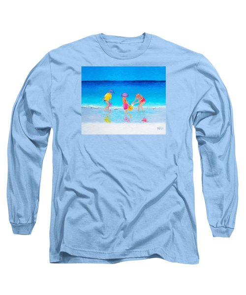 Beach Painting - Water Play  Long Sleeve T-Shirt by Jan Matson