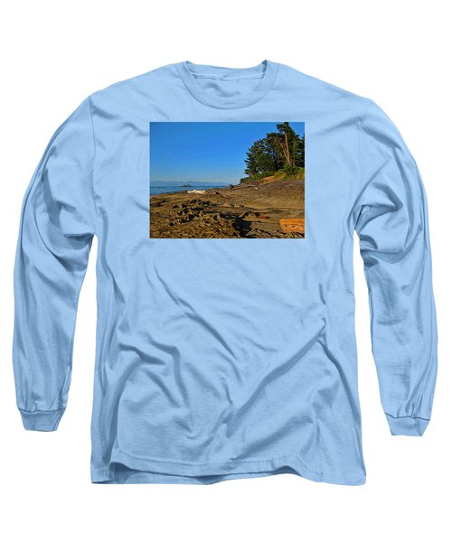 Beach Scene, Berry Point, Gabriola, Bc Long Sleeve T-Shirt by Anne Havard