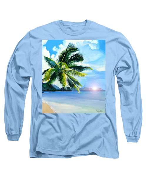 Long Sleeve T-Shirt featuring the painting Beach Scene by Curtiss Shaffer