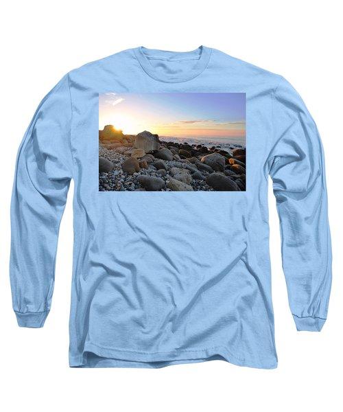 Beach Sunrise Over Rocks Long Sleeve T-Shirt by Matt Harang