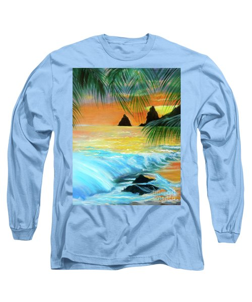 Beach Sunset Long Sleeve T-Shirt by Jenny Lee