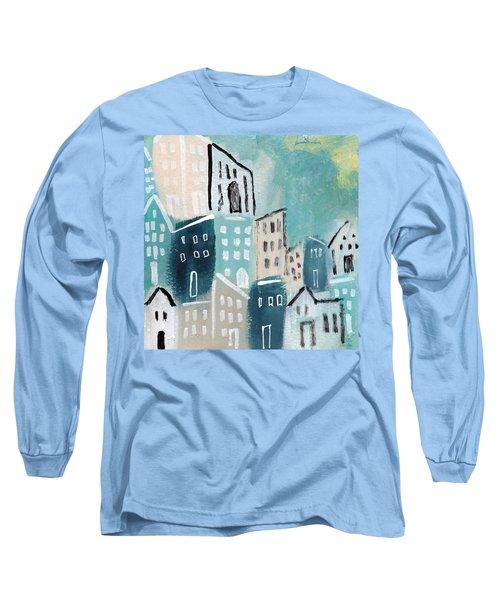 Beach Town- Art By Linda Woods Long Sleeve T-Shirt