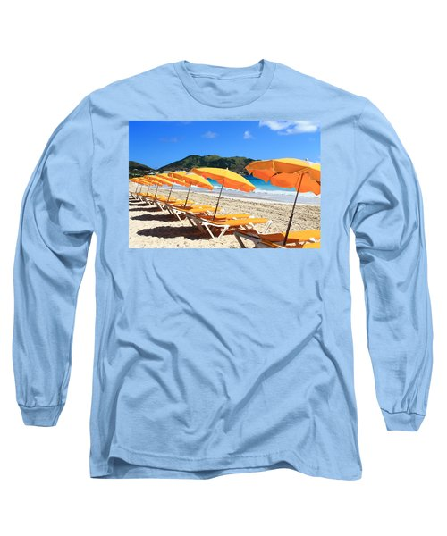 Beach Umbrellas Long Sleeve T-Shirt by Catie Canetti