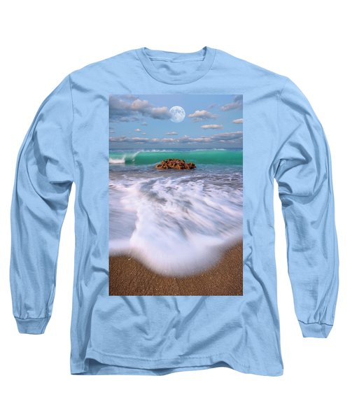 Beautiful Waves Under Full Moon At Coral Cove Beach In Jupiter, Florida Long Sleeve T-Shirt