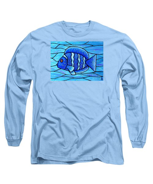 Long Sleeve T-Shirt featuring the painting Beckys Blue Tropical Fish by Jim Harris