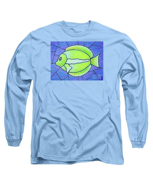 Long Sleeve T-Shirt featuring the painting Beckys Yellow Tropical Fish by Jim Harris