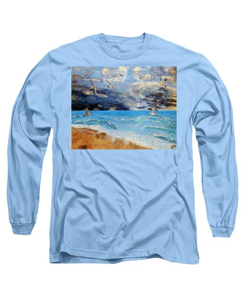 Long Sleeve T-Shirt featuring the painting Before The Storm by Vicky Tarcau