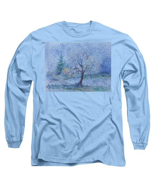 Long Sleeve T-Shirt featuring the painting Begining Of Another Winter by Anna  Duyunova
