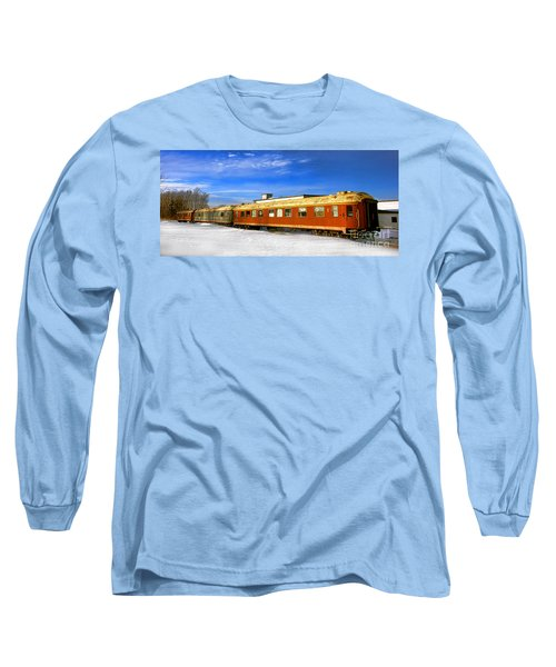 Belfast And Moosehead Railroad Cars In Winter Long Sleeve T-Shirt