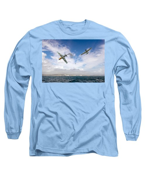 Long Sleeve T-Shirt featuring the photograph Bf109 Down In The Channel by Gary Eason
