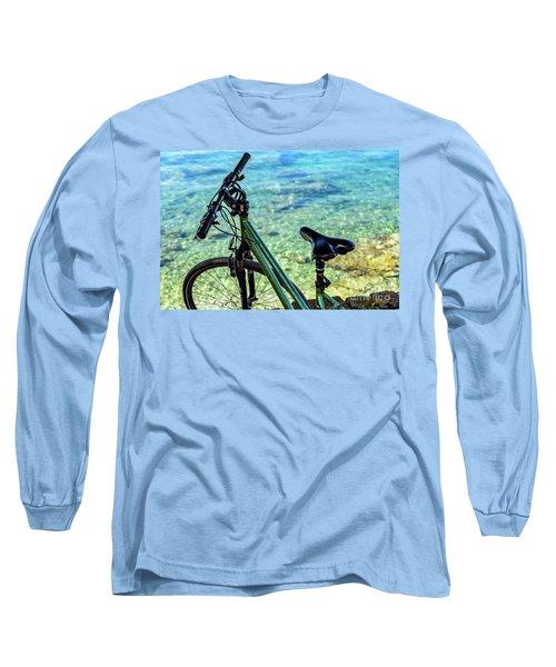Bicycle By The Adriatic, Rovinj, Istria, Croatia Long Sleeve T-Shirt