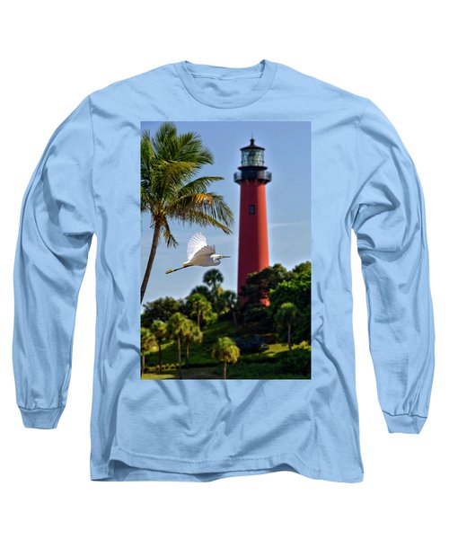 Bird In Flight Under Jupiter Lighthouse, Florida Long Sleeve T-Shirt