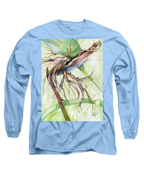 Bird Of Paradise, A Faded Beauty Long Sleeve T-Shirt by Nadine Dennis