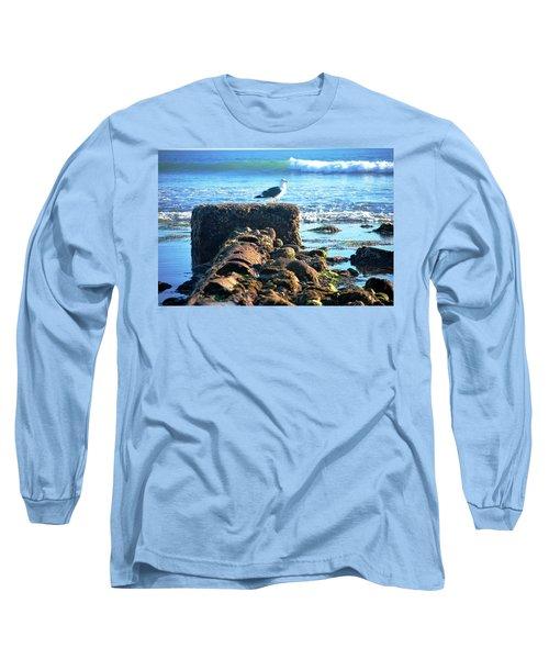 Bird On Perch At Beach Long Sleeve T-Shirt by Matt Harang