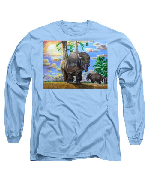 Bison Acrylic Painting Long Sleeve T-Shirt