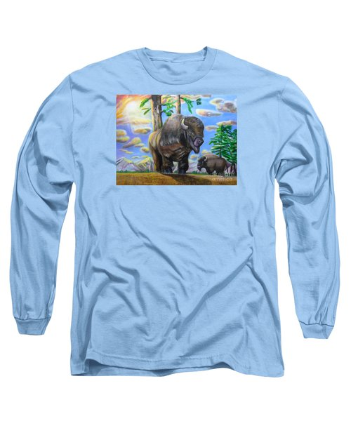 Long Sleeve T-Shirt featuring the painting Bison Acrylic Painting by Thomas J Herring
